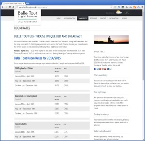 Website with Hotel Room Rates