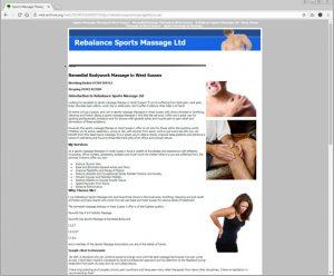 Web design duplication for Sports Massage