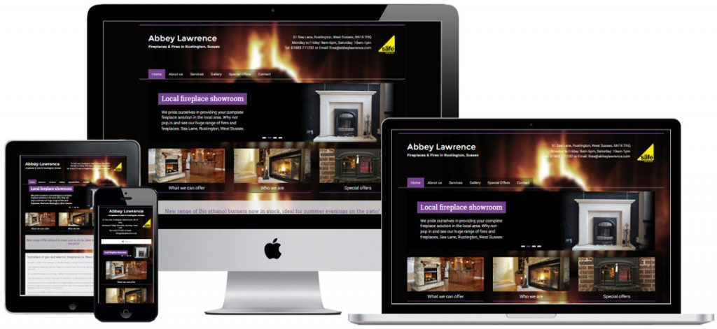 Website for fireplace shop in Rustington, West Sussex